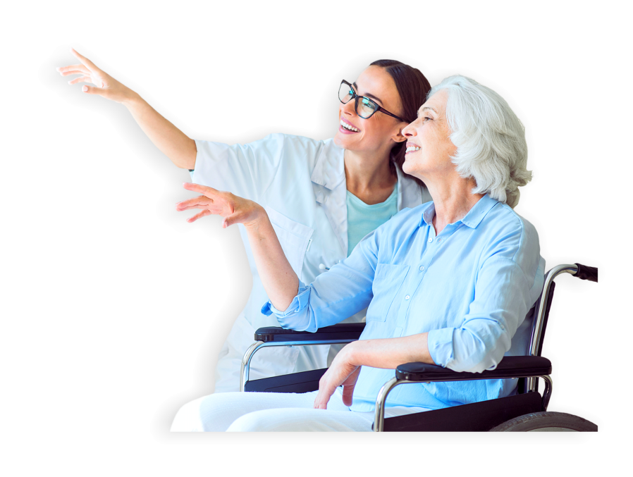 caregiver and senior woman on the wheelchair pointing an object